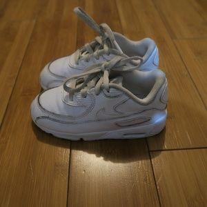 Nike Air Max 90 Triple White Toddler Boys Shoes 9C